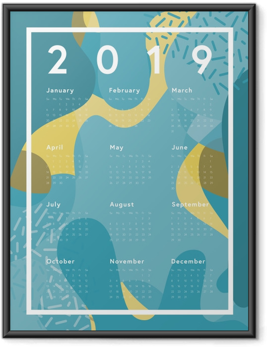 Poster en cadre Calendrier 2019 - abstraction bleu -