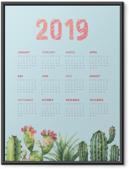 Gerahmtes Poster Kalender 2019 - Kaktus und türkis -