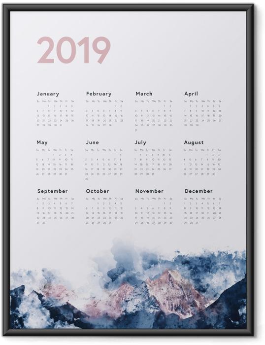 Çerçeveli Poster Takvim 2019 - dağlar -