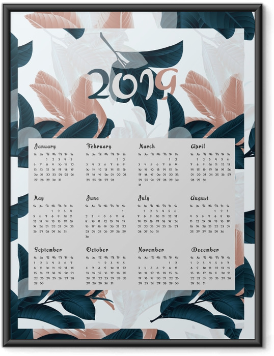 Póster com Moldura Calendário 2019 - flores -