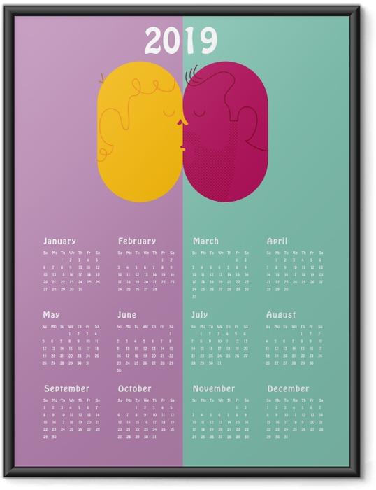 Poster en cadre Calendrier 2019 - kiss -