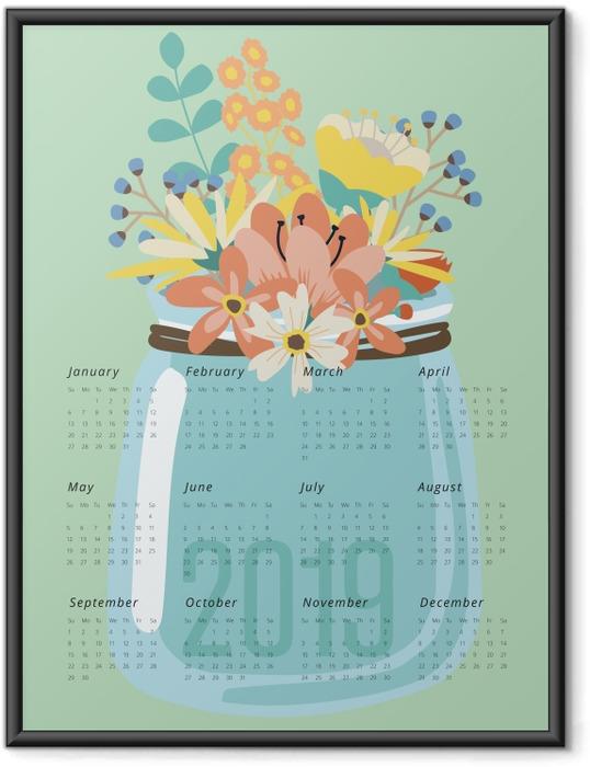Ingelijste Poster Kalender 2019 - bloemen -