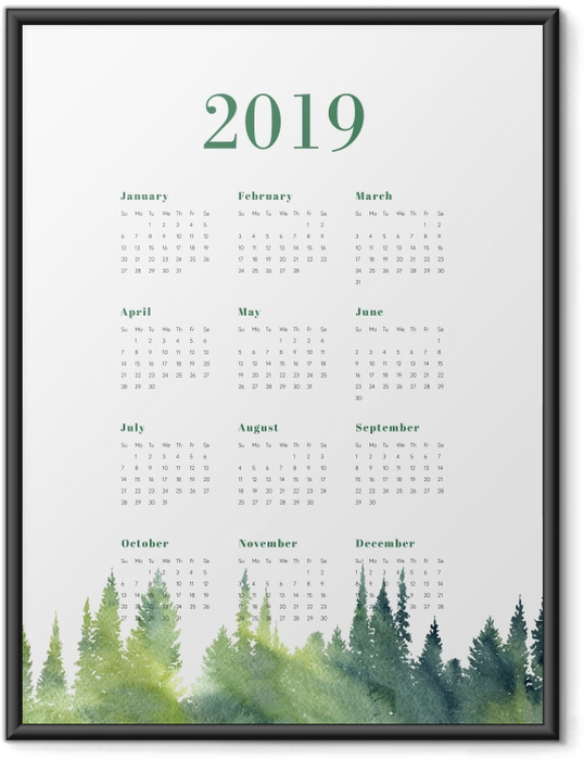 Plakat w ramie Kalendarz 2019 – Las - Kalendarze 2018