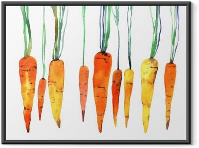 Póster Enmarcado Zanahoria pintado a mano de acuarela