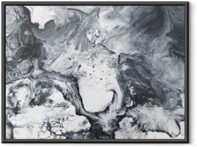 Poster en cadre Marbre abstrait noir et blanc peint à la main fond - Ressources graphiques