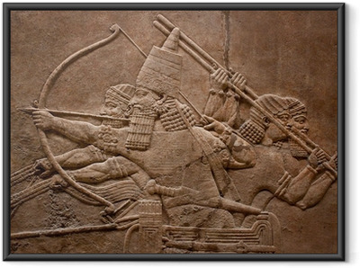 Ancient relief of assyrian warriors fighting in the war Framed Poster