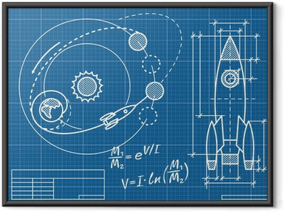 blueprint of the spaceship and its flight path Framed Poster