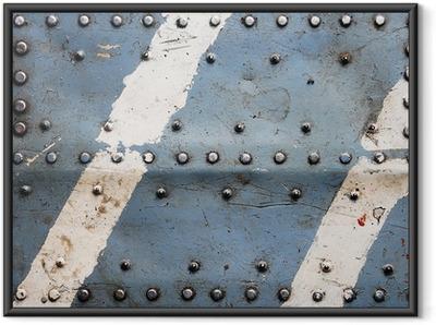 Gerahmtes Poster Metall Textur mit Nieten, Flugzeugrumpf