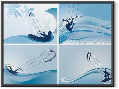 Poster en cadre Fonds d'écran vecteur kitesurf
