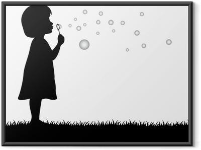 69067b63aaa4ff Plakat w ramie Dziewczynka dmuchanie bańki mydlane
