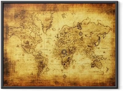Innrammet plakat Gammelt kart over verden.