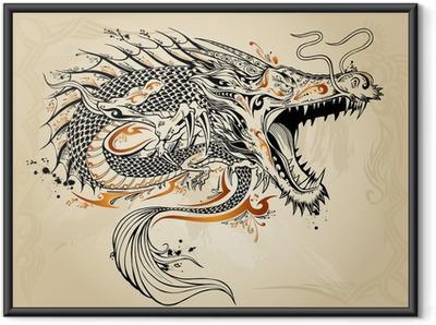 Dragon Doodle Sketch Tattoo Vector Indrammet plakat