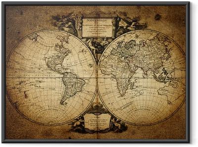 Ingelijste Poster Kaart van de wereld 1752