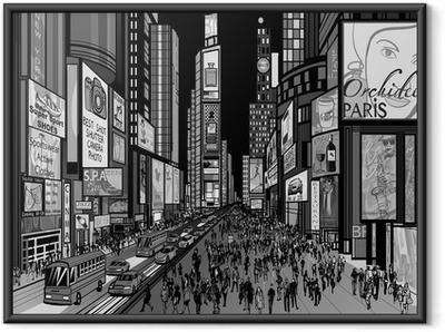 Plakat w ramie Nowy Jork - nocny widok na Times Square