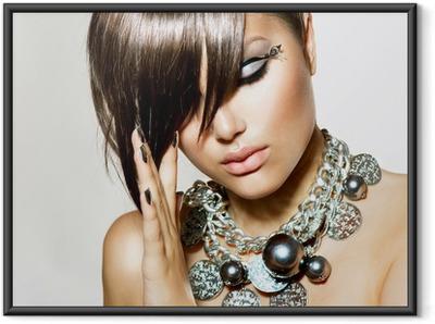 0a77993d5b4 Poster en cadre Glamour Beauty Girl de style de coiffure et de maquillage