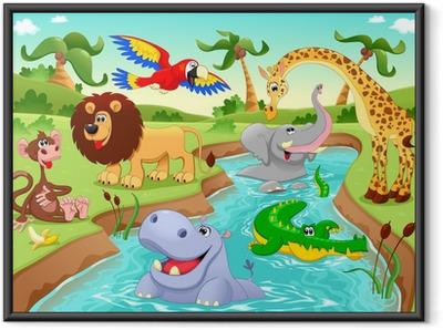 Plakát v rámu Africká zvířata v džungli