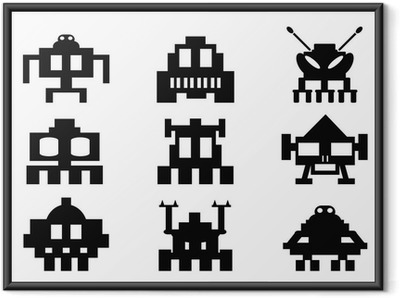 Plakat w ramie Invaders Space icons set - potwory pixel