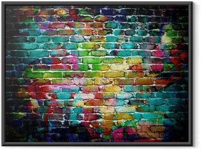 Poster in Cornice Muro di mattoni dei graffiti