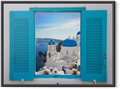 window with view of caldera and church, Santorini Framed Poster