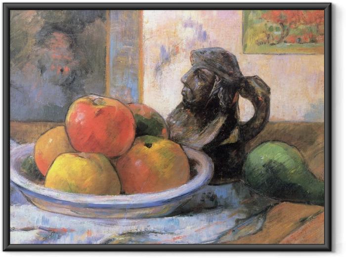 Póster Enmarcado Paul Gauguin - Todavía vida con manzana, una pera y un retrato de cerámica Jarra - Reproducciones