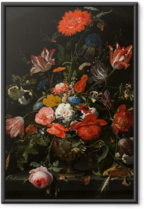 Poster en cadre Abraham Mignon - Flowers in a Metal Vase - Reproductions