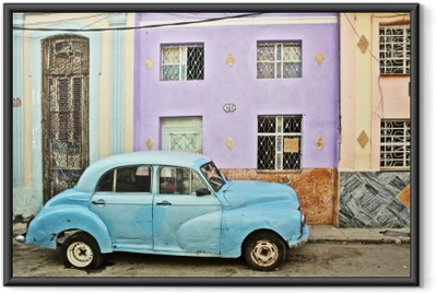 Cuba, La Habana, Broken Down Vintage Car Framed Poster
