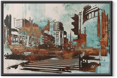 Ingelijste Poster Stedelijke stadsgezicht met abstracte grunge, illustratie painting