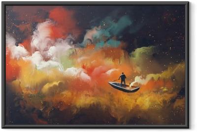 Ingelijste Poster Man op een boot in de ruimte met kleurrijke wolk, illustratie