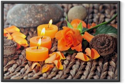 Ingelijste Poster Wellness Kerzen Dekoration