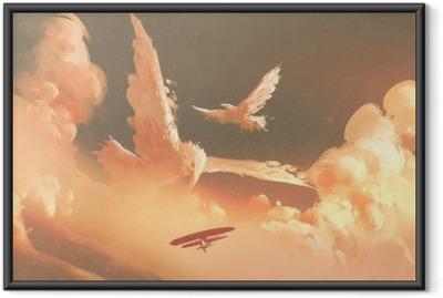 Póster com Moldura Pássaros em forma de nuvem no céu do sol, ilustração pintura