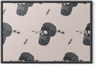 Poster en cadre Seamless fond de hipster crâne vintage avec flèche. Conception graphique pour le papier d'emballage et de texture de tissu de la chemise. Vector Illustration