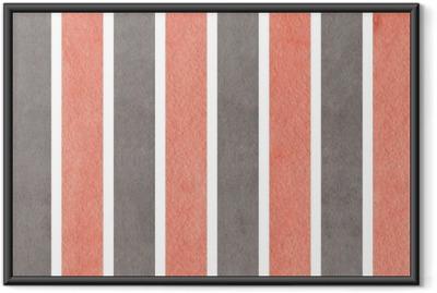 Poster in Cornice Fondo a strisce rosa e grigio dell'acquerello.
