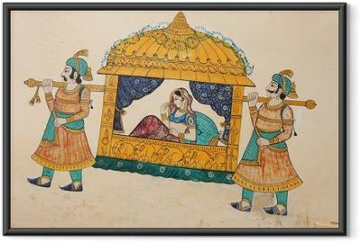Póster Enmarcado Siendo tomada pintura mural antigua tradicional de la mujer india