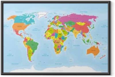 Planisphère Mappemonde. Textes en Français vectorisés Framed Poster