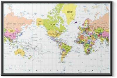 Plakat w ramie Ameryka Centered Polityczna mapa świata samodzielnie na białym tle