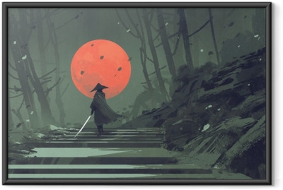 Samurai standing on stairway in night forest with the red moon on background,illustration painting Framed Poster
