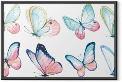 Poster i Ram Samling vattenfärg av flygande fjärilar.