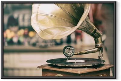 Póster com Moldura Velho rádio gramofone retrô. foto em tons vintage