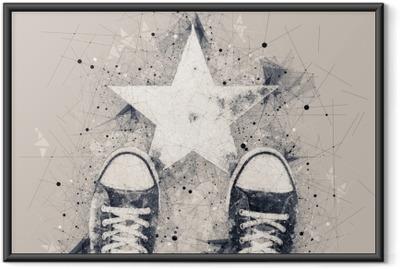Ingelijste Poster Jonge persoon op de weg met stervorm afdruk