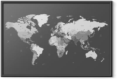 Poster en cadre Gris carte mondiale détaillée