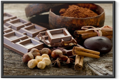 chocolate with ingredients-cioccolato e ingredienti Framed Poster