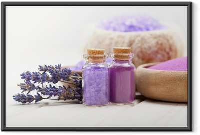 Ingelijste Poster Spa en wellness - Lavendel mineralen