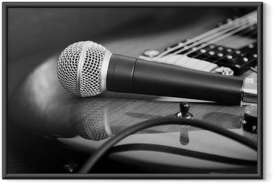 Poster i Ram Gitarr och mikrofon