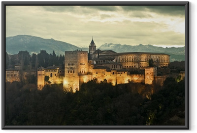 Ingelijste Poster Alhambra bij Schemer