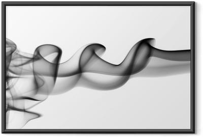 Ingelijste Poster Abstracte zwarte rook golven op wit