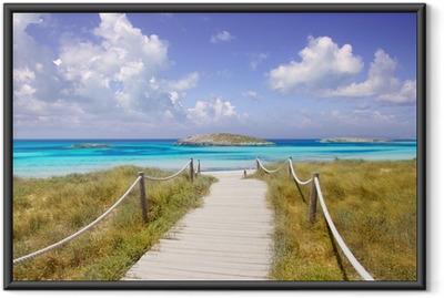 Ingelijste Poster Strand weg naar Illetas paradise beach Formentera