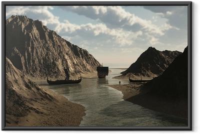 Gerahmtes Poster Viking Longships in isländischen Inlet