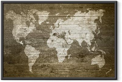 Gerahmtes Poster Grungewood - Weltkarte