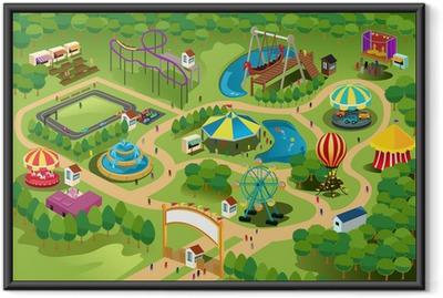 Amusement park map Framed Poster