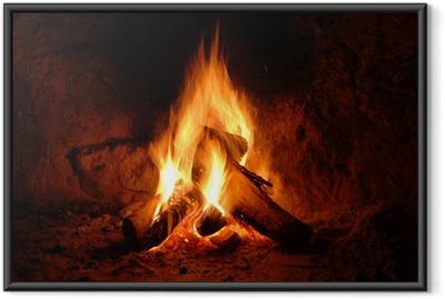 Poster en cadre Feuer, Kaminfeuer, Flammen,